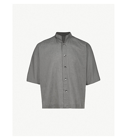 HOMME PLISSE ISSEY MIYAKE Relaxed-fit linen and cotton-blend shirt (Ink+black