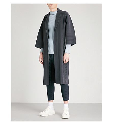 HOMME PLISSE ISSEY MIYAKE Shawl-lapel pleated coat (Gunmetal+grey