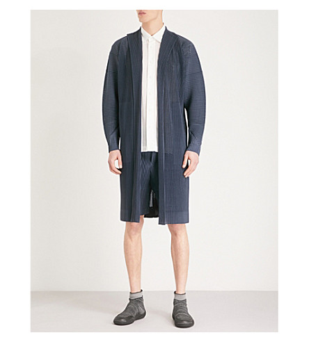 HOMME PLISSE ISSEY MIYAKE Perforated pleated-mesh coat (Charcoal+grey