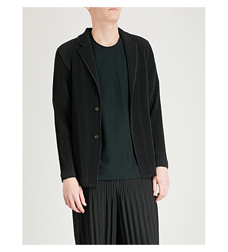 HOMME PLISSE ISSEY MIYAKE Notch-lapel pleated blazer (Black