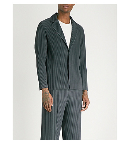 HOMME PLISSE ISSEY MIYAKE Relaxed-fit pleated blazer (Gunmetal+grey
