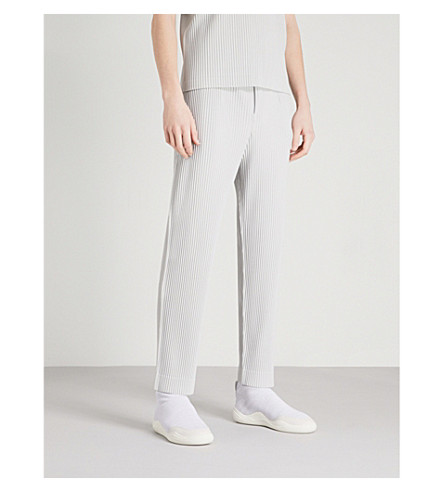 HOMME PLISSE ISSEY MIYAKE Pleated striaght-leg woven trousers (Grey