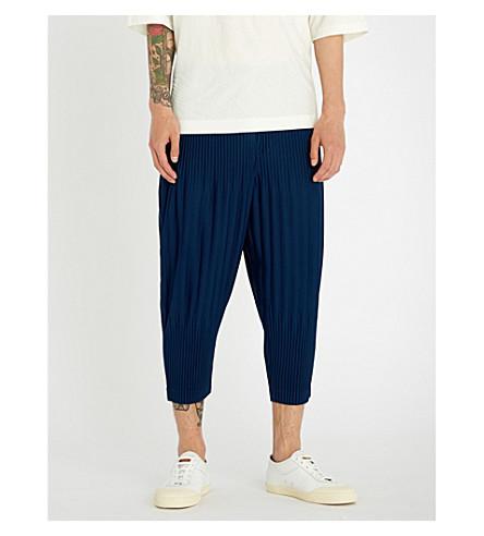 y HOMME ISSEY ajustado corto corte Pantalón PLISSE MIYAKE Azul plisado wxYqAZ6xr