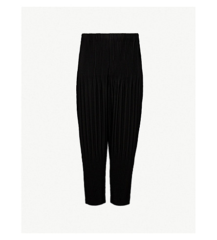 HOMME PLISSE ISSEY MIYAKE Relaxed-fit pleated crepe trousers (Black