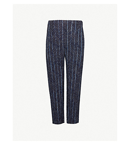 HOMME PLISSE ISSEY MIYAKE Pleated straight-leg crepe trousers (Blue