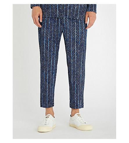 HOMME PLISSE ISSEY MIYAKE Pleated straight-leg crepe trousers (Blue