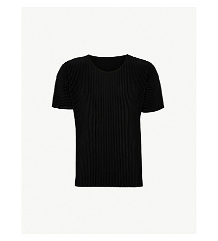 HOMME PLISSE ISSEY MIYAKE Short-sleeved pleated top (Black