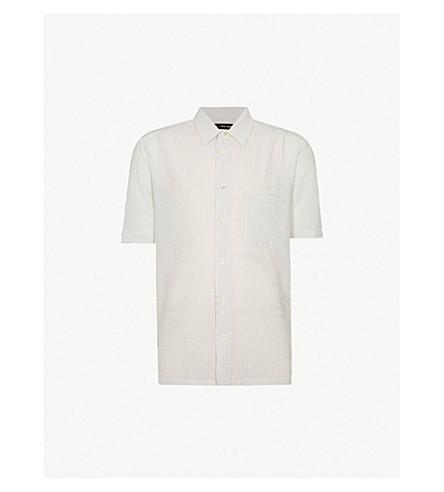 ISSEY MIYAKE Striped regular-fit textured cotton-blend shirt (White