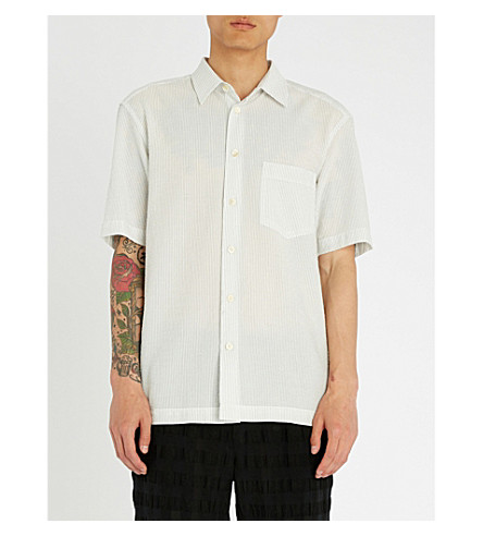 ISSEY MIYAKE Striped regular-fit textured cotton-blend shirt (White