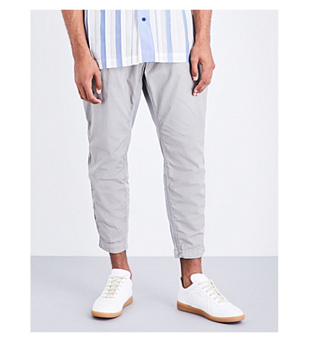 ISSEY MIYAKE Regular-fit tapered cotton-twill trousers (Grey