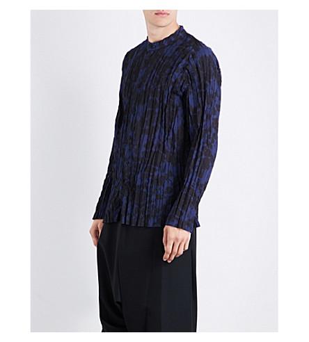 ISSEY MIYAKE Tie-dye regular-fit woven shirt (Navy