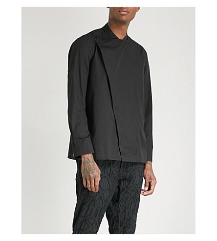 ISSEY MIYAKE Wrap-over asymmetric cotton shirt (Black
