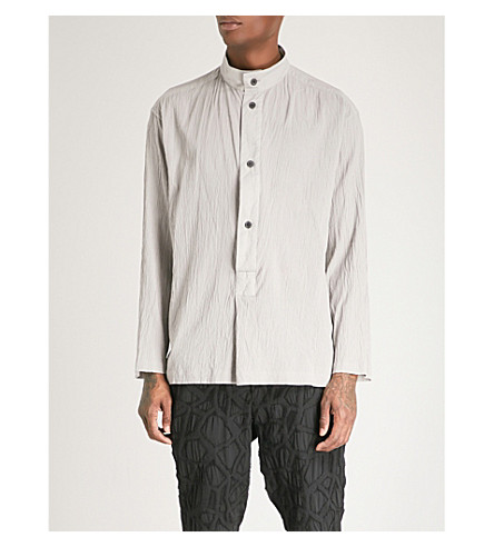 ISSEY MIYAKE Regular-fit cotton-plissé shirt (Lt+grey