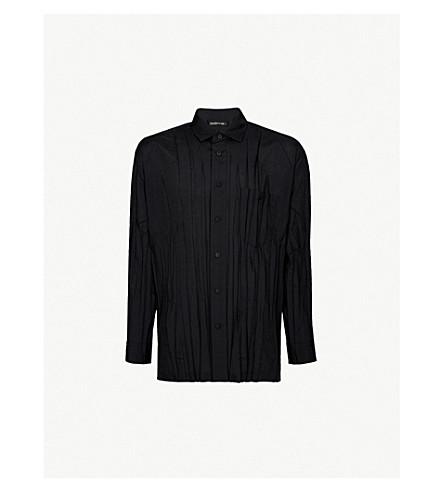 ISSEY MIYAKE Slim-fit pleated woven shirt (Black