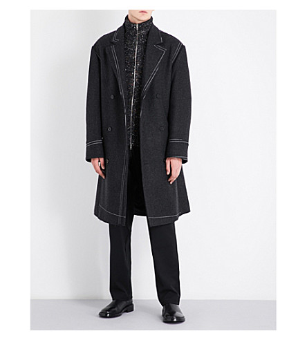 MAISON MARGIELA Contrast-stitch double-breasted wool coat (Dark+grey+melange