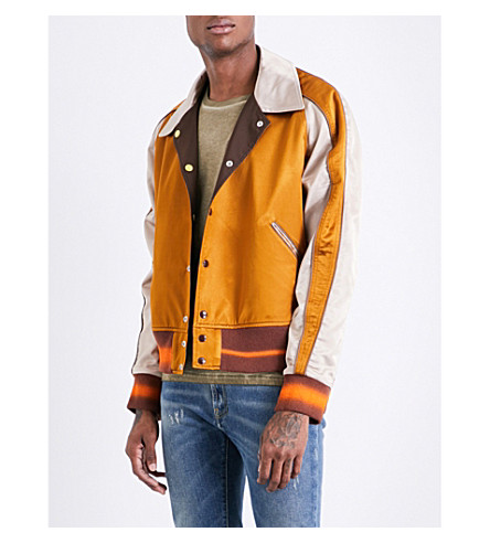 MAISON MARGIELA Reversible satin varsity jacket (Mustard+gold
