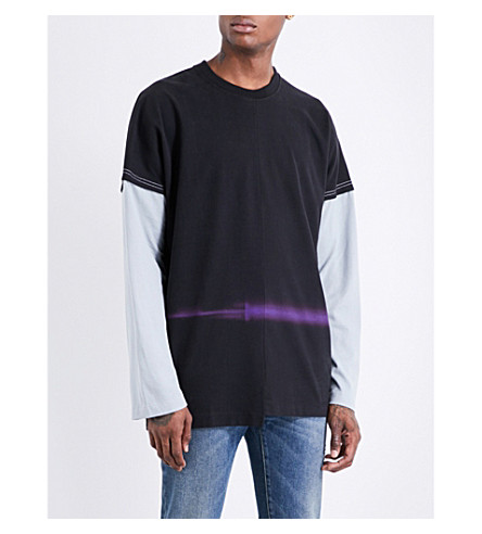 MAISON MARGIELA Double layered long-sleeved cotton-jersey T-shirt (Black