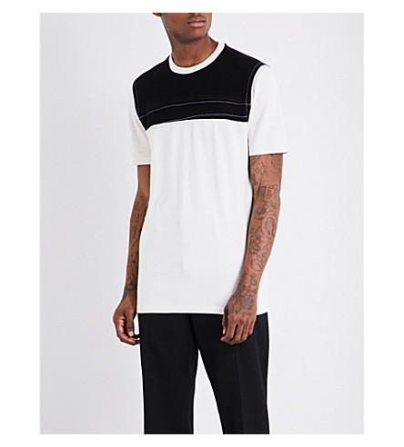 MAISON MARGIELA Contrast-chest cotton T-shirt (Off+whtie