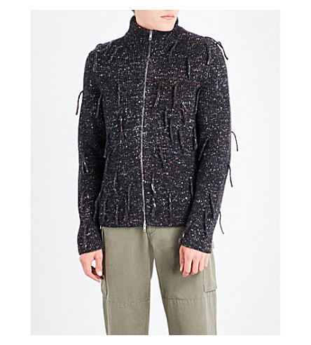 MAISON MARGIELA Fringed wool-blend cardigan (Charcoal