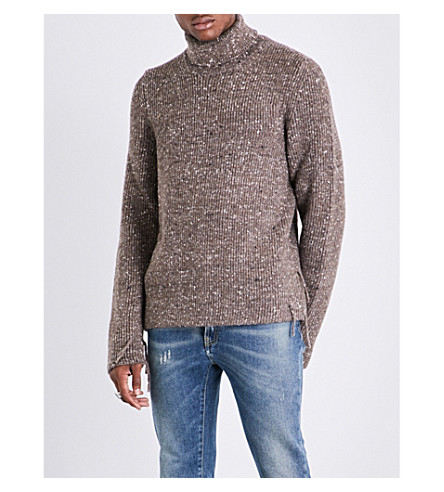 MAISON MARGIELA Mottled-effect turtleneck wool, alpaca and silk-blend jumper (Walnut