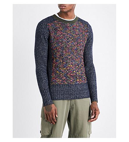 MAISON MARGIELA Embroidered-detail wool-blend jumper (Blue