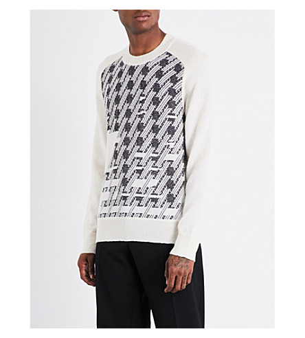 MAISON MARGIELA Houndstooth knitted jumper (Off+white