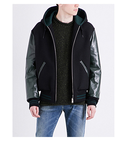 MAISON MARGIELA Hooded wool and leather jacket (Black