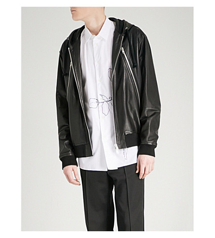 MAISON MARGIELA Hooded leather jacket (Black