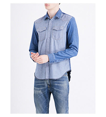 MAISON MARGIELA Contrast-panelled regular-fit denim shirt (Light+indigo