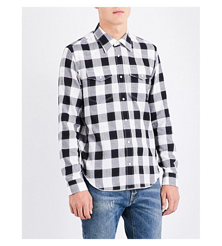 MAISON MARGIELA Regular-fit checked lurex cotton shirt (Black+&+white