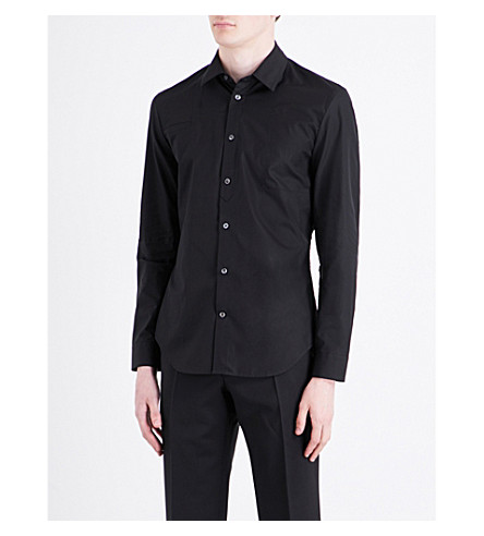 MAISON MARGIELA Panelled regular-fit cotton shirt (Black