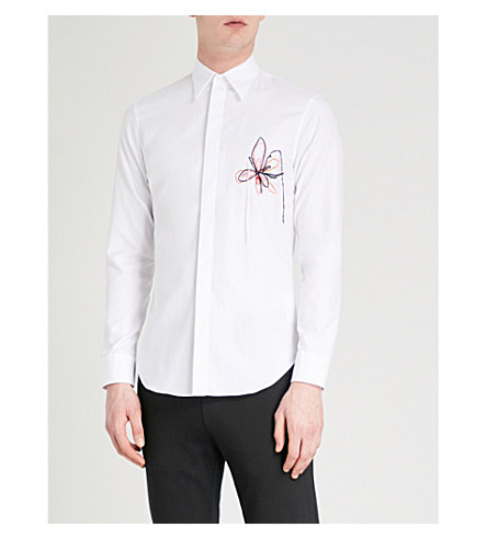 MAISON MARGIELA Floral-embroidered slim-fit cotton Oxford shirt (White