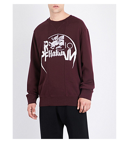 MAISON MARGIELA Panelled cotton-jersey sweatshirt (Bordeaux