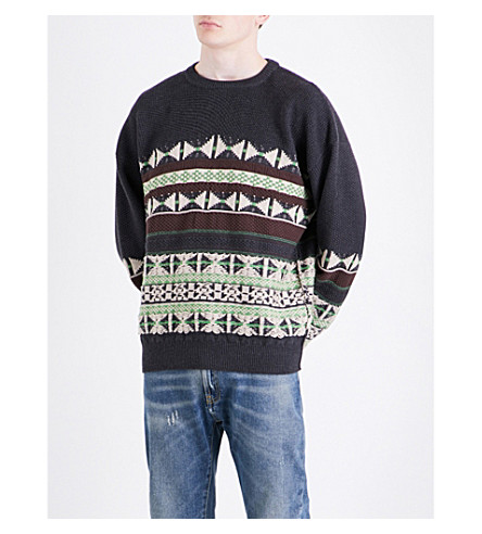 MAISON MARGIELA Fair Isle knitted wool and cotton-blend jumper (Charoal
