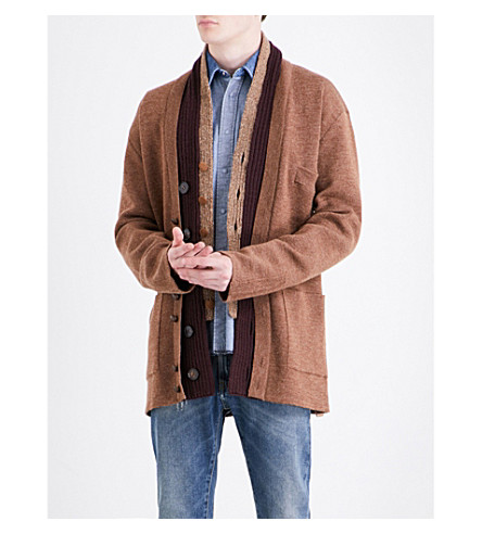 MAISON MARGIELA Chunky knitted wool-blend cardigan (Hazelnut