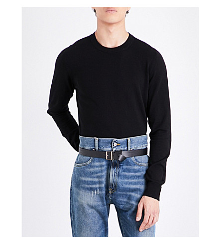 MAISON MARGIELA Elbow patch knitted cotton and wool-blend jumper (Black
