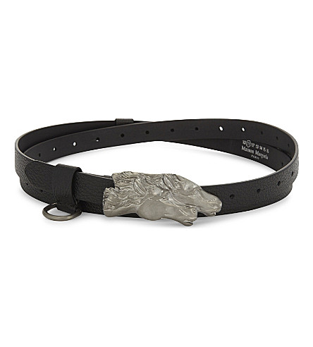 MAISON MARGIELA Leather horse head buckle belt (Black