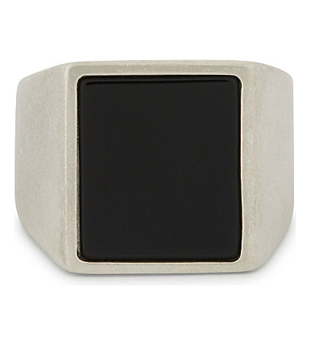 MAISON MARGIELA Silver and natural stone ring (Silver/black