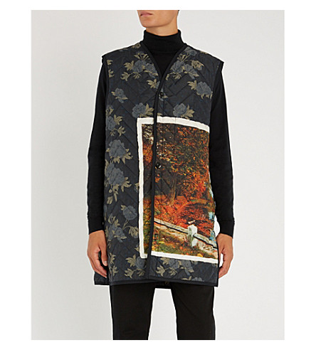 OAMC Postcard-print quilted shell vest