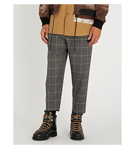 OAMC Checked-pattern tapered wool trousers (Grey