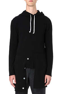 COMME DES GARCONS Broken placket knitted hoody