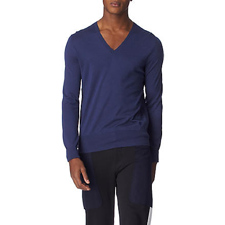 ALEXANDER MCQUEEN V–neck knitted jumper (Blue