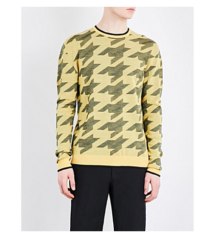STELLA MCCARTNEY Houndstooth wool sweater (Canary colourway