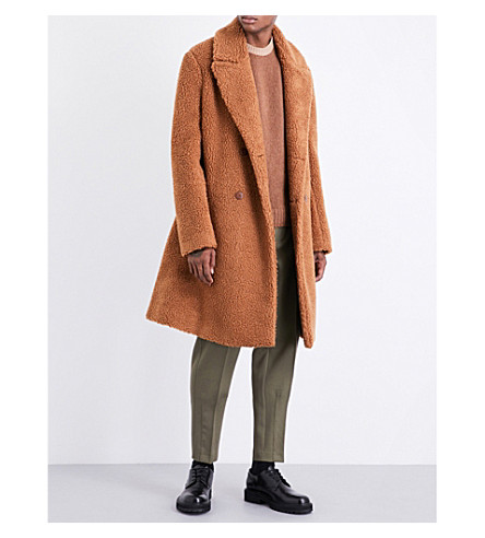 STELLA MCCARTNEY Tie-waist faux-fur coat (Camel