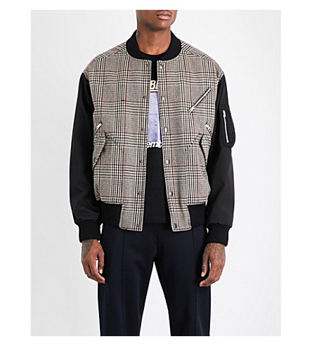 STELLA MCCARTNEY Checked wool-blend bomber jacket (Beige+multi