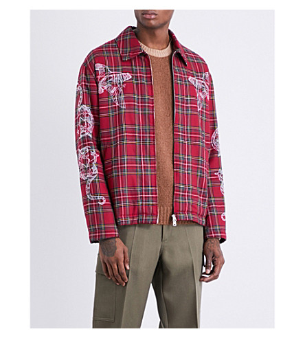 STELLA MCCARTNEY Tartan cotton-blend overshirt jacket (Red+multi