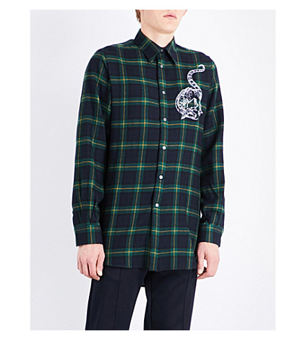 STELLA MCCARTNEY Dragon-embroidered tartan regular-fit wool shirt (Bottle+green