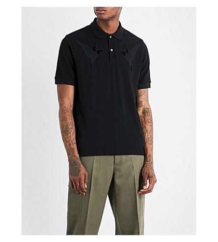 STELLA MCCARTNEY Swallow-embroidered cotton-piqué polo shirt (Black