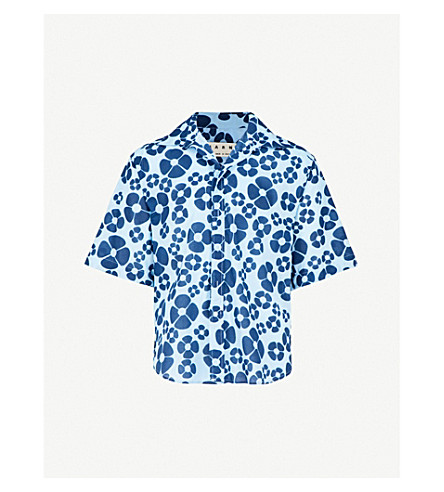 MARNI Daisy-print cotton shirt (Blue