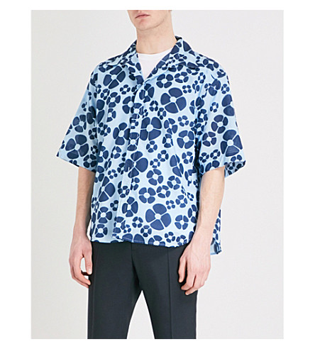 MARNI Daisy-print cotton shirt (Blue